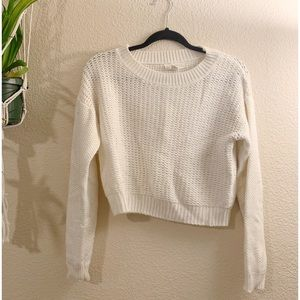 Forever 21 cropped boat neck cream knit sweater
